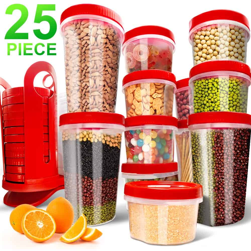 25-Piece Food Storage Containers BPA Free with Rotating Rack Great for $8.49 Shipped! (Reg. Price $16.99)